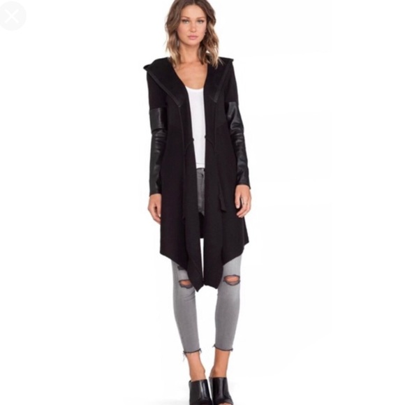 Blank NYC Sweaters - Blank NYC Faux Leather Hooded Cardigan
